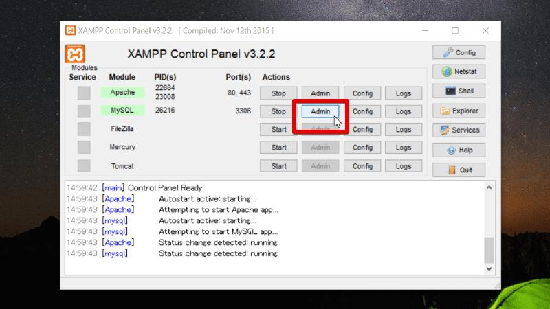 XAMPPコントロールパネルでMySQLのAdminを選択