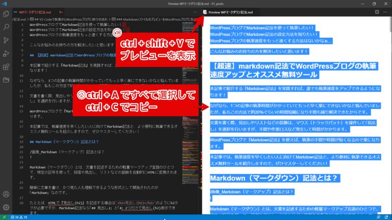 VS Codeでショートカットキー入力しMarkdownのプレビューを表示した文書データをすべてコピー
